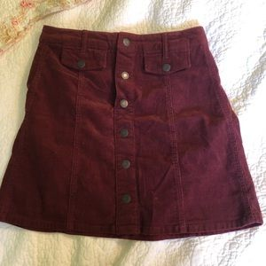 Mossimo Supply Co. | Maroon Button-Down Skirt